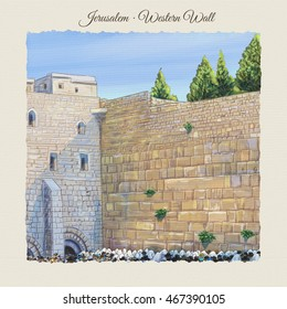 Western wall Jerusalem, prayer. David city - old city of Jerusalem Israel landscape watercolor Illustration. Jewish traditions Holiday. Jerusalem Kotel, wailing, wall landmark, people prayer, beadsman