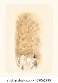 Western wall Jerusalem, prayer. David's city - old city of Jerusalem. Israel. Vintage Illustration Hand Drawn. Jewish Holidays. Jew, Jewish man. Torah, Judaism, Rosh Hashana, bar mitzvah. yom kippur