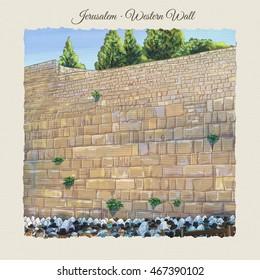 Western wall Jerusalem, prayer. David's city - old city of Jerusalem. Israel. Landscape. Digital Illustration. Hand Drawn. Kotel Watercolor. Slichot. Selichot. Jewish Holiday Religion Tradition. Torah