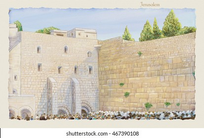Western Wall Jerusalem, prayer. David's city - old city of Jerusalem. Kotel Israel. Rosh Hashana. Sukkot. Watercolor Hand Drawn. Passover Slichot Kippur Shavuot Jewish Holiday Religion Tradition Torah