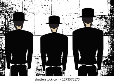 Western Wall, Jerusalem. The Wailing Wall. Religious Jewish Hasidim in hats and talit pray. Black and white illustration