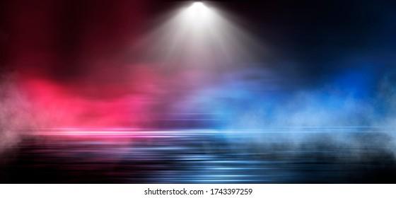 Wet asphalt, reflection of neon lights, a searchlight, smoke. Abstract light in a dark empty street with smoke, smog. Dark background scene of empty street, night view, night city.