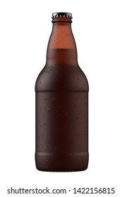 Wet brown amber beer bottle Heritage with droplets. 12 oz or 355 ml volume. Isolated high resolution 3d render.