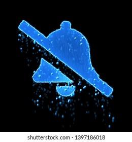 Wet symbol bell slash is blue. Water dripping