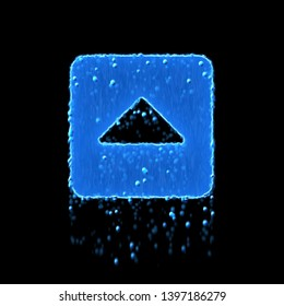 Wet symbol caret square up is blue. Water dripping