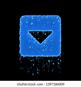 Wet symbol caret square down is blue. Water dripping