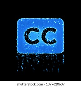Wet symbol closed captioning is blue. Water dripping