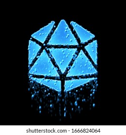 Wet symbol dice d20 is blue. Water dripping