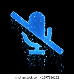 Wet symbol microphone slash is blue. Water dripping