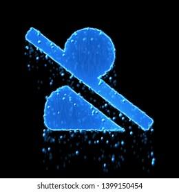 Wet symbol user slash is blue. Water dripping