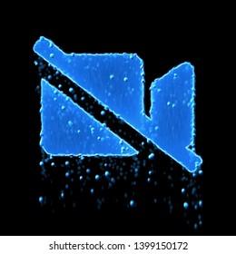 Wet symbol video slash is blue. Water dripping