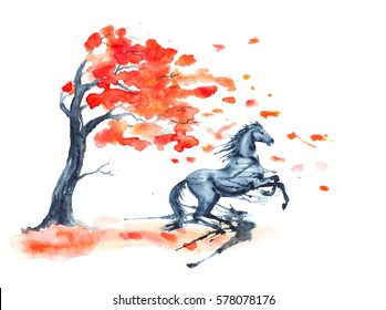 Wet watercolor rearing up horse with ink blots stains autumn tree with red fall leaves on white. Hand drawing illustration of black stallion in motion