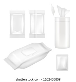 Wet wipes package mockup set. Realistic white blank packaging foil and plastic containers with flap for wet wipes isolated on white background.