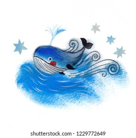 Whale. Cetacean. Animals. Wildlife. Blue ocean. Waves. Character Illustrations. Hand drawn art for design. Water. Blue stars.