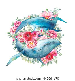 Whale with flowers artwork. Watercolor composition with blue whale and anemones, roses, fern, peonies bouquet. Hand painted animal silhouette isolated on white background. Love illustration