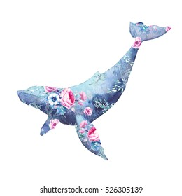 Whale with flowers artwork. Watercolor print with blue whale and anemones, roses, peonies bouquet pattern. Hand painted animal silhouette isolated on white background. Creative natural illustration