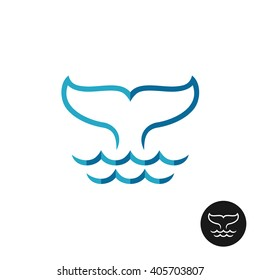 Whale tale logo with ocean waves. Blue flat colors style and black monochrome variants.