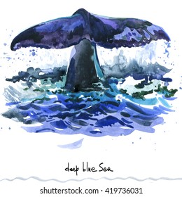 Whale watercolor illustration. Marine life background. Undersea world. sea Fauna