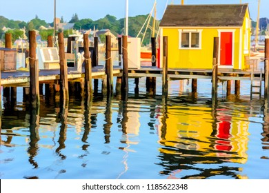 Wharf above rippled saltwater reflecting bright yellow building with red door in a marina on Martha's Vineyard, Massachusetts, USA, with digital painting effect, for coastal, travel, and marine motifs