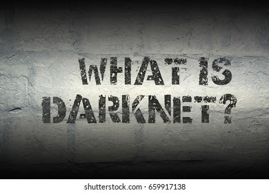 what is darknet question stencil print on the grunge white brick wall