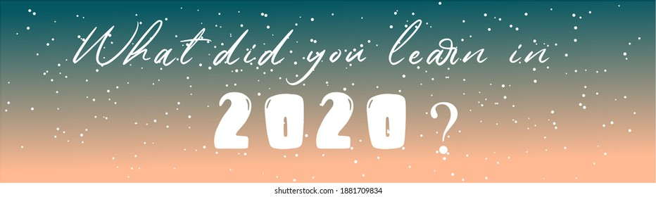 What did you learn in 2020? text written on blue and pink background