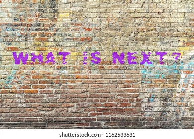 """WHAT IS NEXT"" TEXT WRITTEN ON BRICKS WALL. CONCEPT"