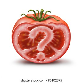 What is In your food and what are the nutritional additive ingredients in our meals and fruits and vegetables with a cut tomato and a question mark inside showing confusion about what we eat.