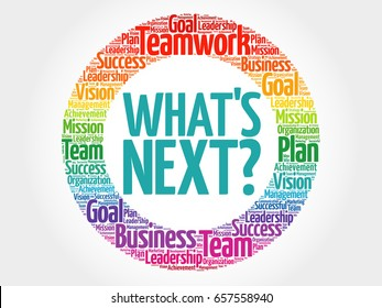 What's Next circle word cloud, business concept