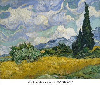 Wheat Field with Cypresses, by Vincent Van Gogh, 1889, Dutch Post-Impressionist, oil on canvas. This was his first version and was likely painted en plein air, when Van Gogh was able to leave the prec