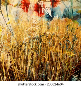Wheat field painting and mixed media, abstract background