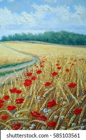Wheat field poppies, oil paintings