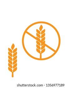 Wheat gluten free grain icon. 100% Gluten Free sticker for food