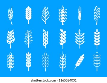 Wheat icon set. Simple set of wheat icons for web design isolated on blue background