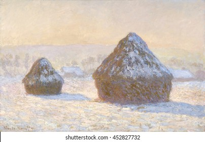 Wheatstacks, Snow Effect, Morning, by Claude Monet, 1891, French impressionist painting, oil on canvas. In the fall of 1890, Monet arranged to have the wheatstacks near his home left out over the win