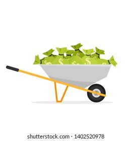 wheel barrow full of money. Clipart image isolated on white background