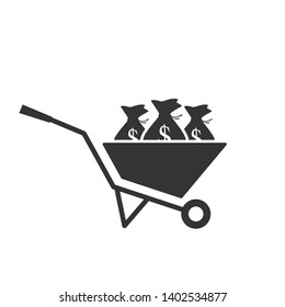 Wheel barrow with money sack. Clipart silhouette isolated on white background