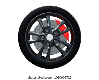 wheel car from side or front view isolated on a white background 3d rendering