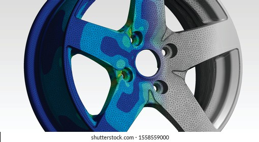 Wheel engineering with finite element analysis and transition between geometry, mesh and von mises stress plot