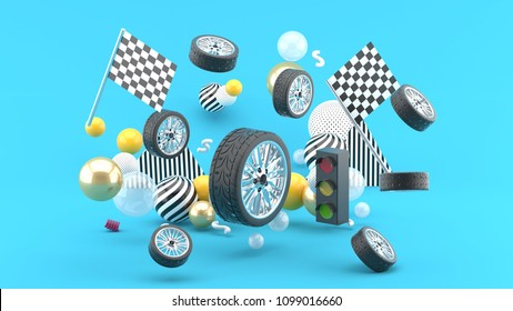 Wheel floats amidst flags and traffic lights, and colorful balls on a blue background.-3d render.