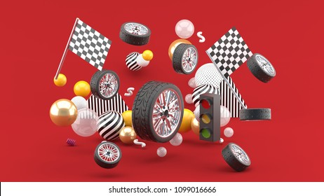 Wheel floats amidst flags and traffic lights, and colorful balls on a red background.-3d render.