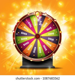 Wheel Of Fortune Banner. Win Fortune Roulette 3d Victory Object. Winner Bright Background. Illustration