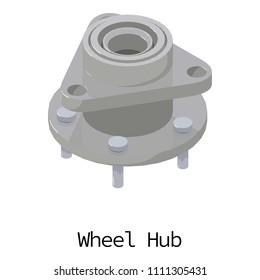 Wheel hub icon. Isometric illustration of wheel hub icon for web