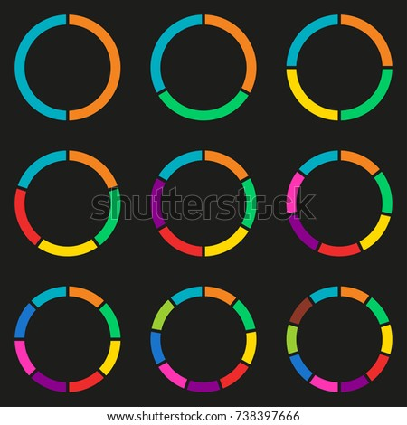 wheel infographics template pie chart set stock illustration