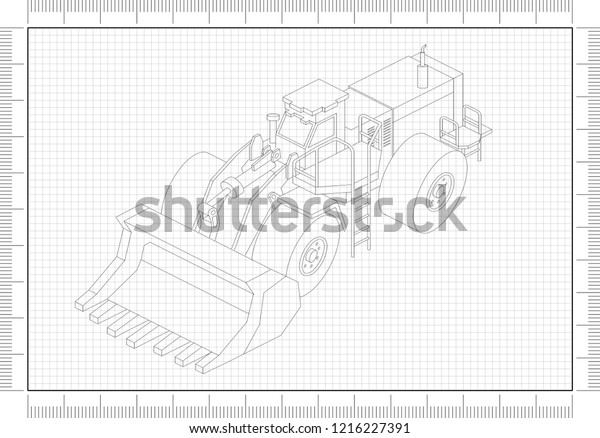 Wheel Loader Architect Blueprint Stock Illustration 1216227391