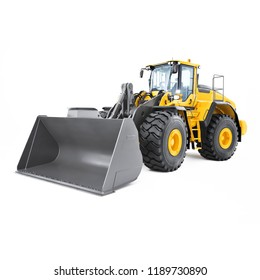 Wheel Loader Isolated on White. Yellow Front Loader. Loading Shovel. Front View Heavy Equipment Machine. Industrial Vehicle. Pneumatic Truck. Tractor Front Loader. Construction Machinery. 3D Rendering