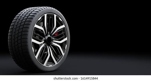 Wheel with modern alu rim on black background - banner composition. 3D illustration
