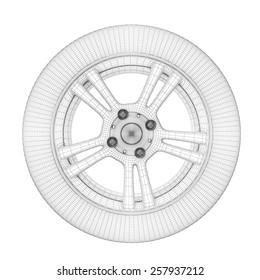 Wheel on a white. Wheel wire model. 3d illustration.