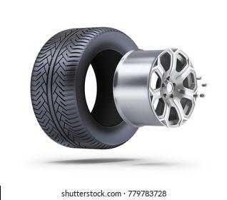 Wheel parts. 3d image. White background.