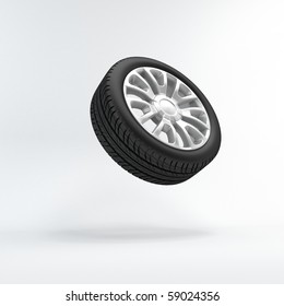 The wheel soars in air