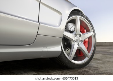 Wheel sports car close-up outdoor 3d